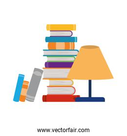 stack of books and lamp on white background