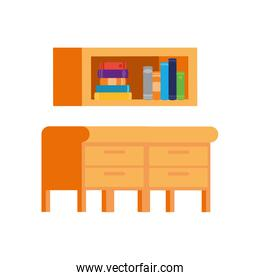 desk and shelving with stack of books on white background