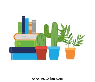 stack of books with houseplant on white background