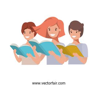 group of student with reading book in the hands
