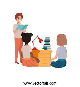 group of student with reading book