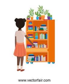 student girl standing with bookshelf