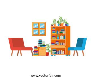 living room with couch and bookshelf of books