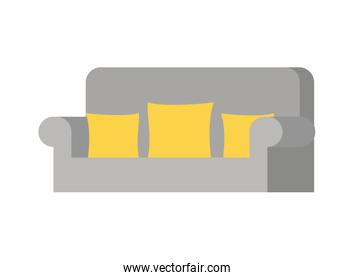 comfortable sofa in living room with white background