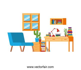 living room with sofa and desk with books