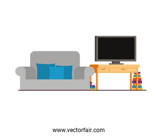 comfortable sofa in living room with plasma tv