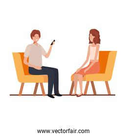 couple with sitting in chair on white background