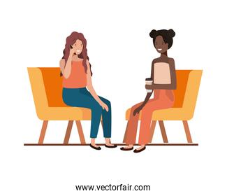 young women sitting in chair with white background
