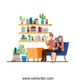 couple sitting in the work office avatar character