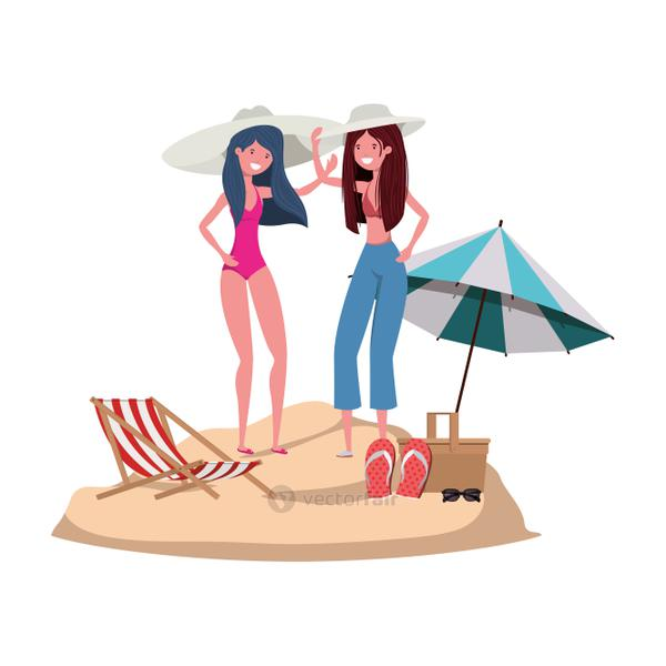 women with swimsuit on the beach and umbrella