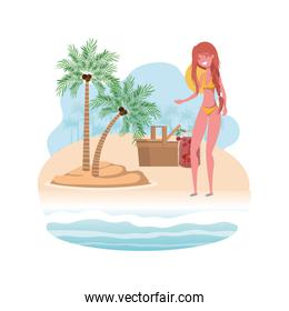 smiling woman on island with swimsuit and picnic basket
