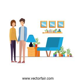 couple people standing in the work office