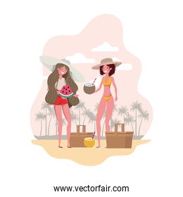 women with swimsuit and tropical fruits in hand
