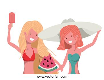 women with portion of watermelon in hand in white background