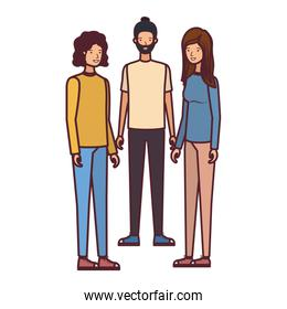 group of people in white background avatar character