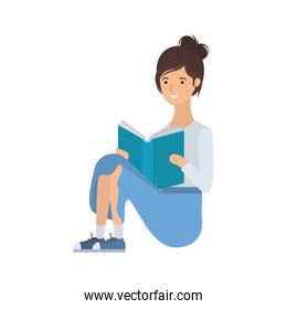 woman sitting with book in hands