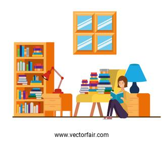 woman with book in hands in living room
