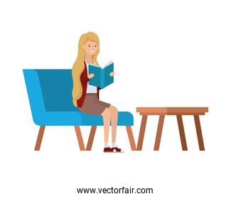 woman sitting on chair with book in hands