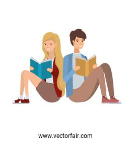 couple sitting with book in hands
