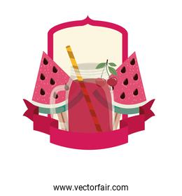 glass with watermelon and straw drink