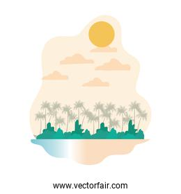 palm tree with coconut in white background