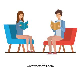 couple sitting on chair with book in hands