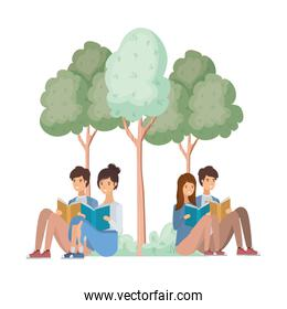 group of people sitting with book in landscape