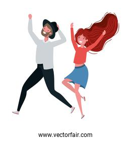 young couple dancing in white background