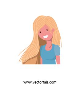young woman in white background avatar character