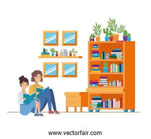 couple with book in hands in living room
