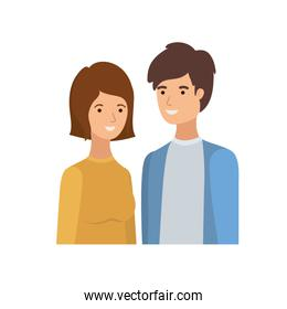 young couple in white background avatar character