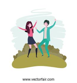 couple dancing in landscape with trees and plants