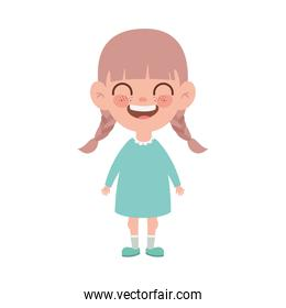 baby girl standing smiling on white background