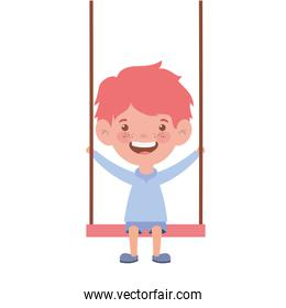 baby boy in swing smiling on white background