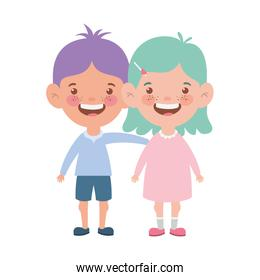 couple baby standing smiling on white background