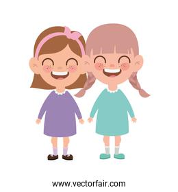 baby girls standing smiling on white background