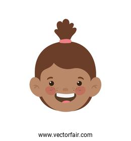 head of baby girl smiling with white background