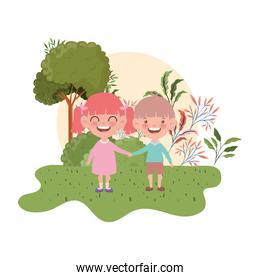 couple baby standing smiling in landscape