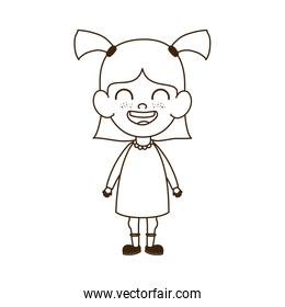 silhouette of baby girl standing smiling on white background