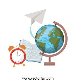 book of school with globe and clock