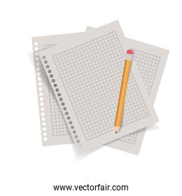 sheet of paper with pencil isolated icon