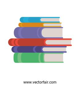 stack of books on white background