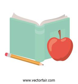 book open with apple fruit and pencil