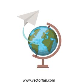 earth globe with paper plane on white background