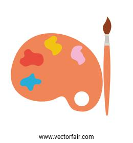 paint pallete and brush isolated icon
