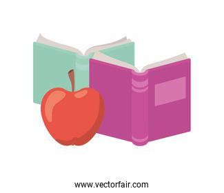 books of school with apple fruit icon