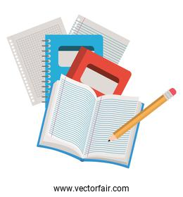 books of school open with pencil on white background