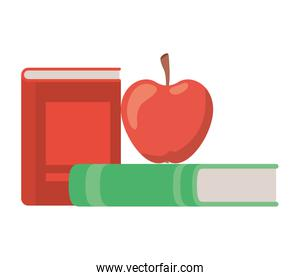 stack of books with apple fruit icon