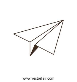 silhouette of paper plane on white background