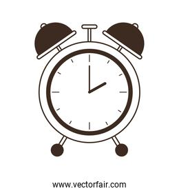 silhouette of alarm clock with white background